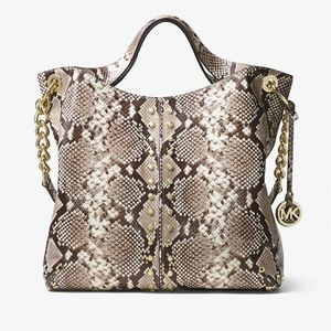 MICHAEL KORS Astor Python Embossed Leather Tote